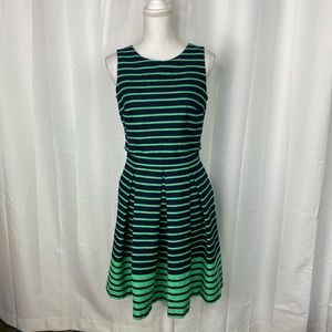 Just... Taylor Navy Blue and Green Striped Dress
